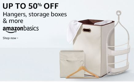 Up to 50% off on AmazonBasic Home Storage and Organization