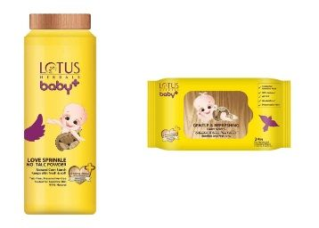 Lotus Herbals Baby+ Love Sprinkle No-Talc Powder, 100g and Refreshing Baby Wipes, Yellow (24 Count) at Rs.203