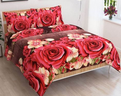 Jars Collections Floral Polycotton Double Bedsheet With 2 Pillow Covers at Just Rs. 299