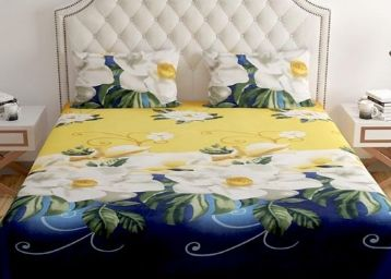Home Readiness Polycotton Golden Rose Yellow Floral Double Bedsheet With 2 Pillow Cover at Rs. 299