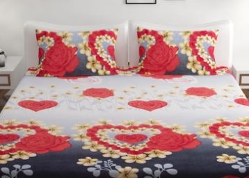 Home Readiness Polycotton Valentine Red Floral Double Bedsheet With 2 Pillow Cover at Rs. 299