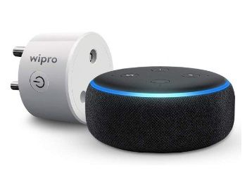 Echo Dot (Black) bundle with Wipro 10A smart plug for small appliances at Rs.2498