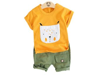 MXH Boys Cotton Animal Print T-Shirt and Short Set in Yellow Colour