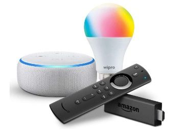 Echo Dot (White) bundle with Fire TV Stick and Wipro 9W smart bulb at Rs.4598