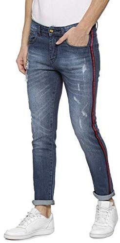 Campus Sutra Men Shaded Side Red Stripe Stitching Denim Jeans