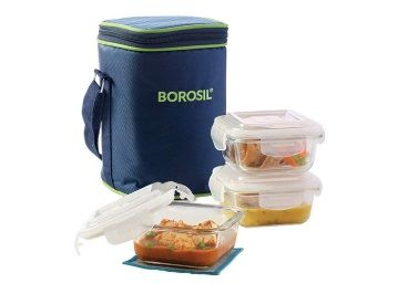 Borosil Glass Lunch Box Set of 3, 320 ml,Microwave Safe Office Tiffin at Rs.765