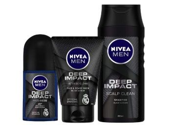 Flat 50% Nivea Deep Impact Roll On, 50ml and Face Wash, 100ml with Shampoo, 250ml at Rs.299