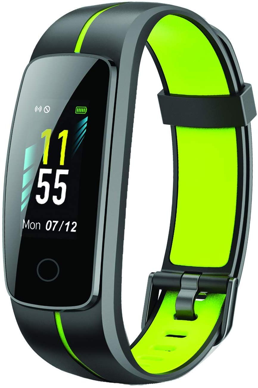 PLAYFIT Smart Band, Fulltouch Color Display(Black and Green)