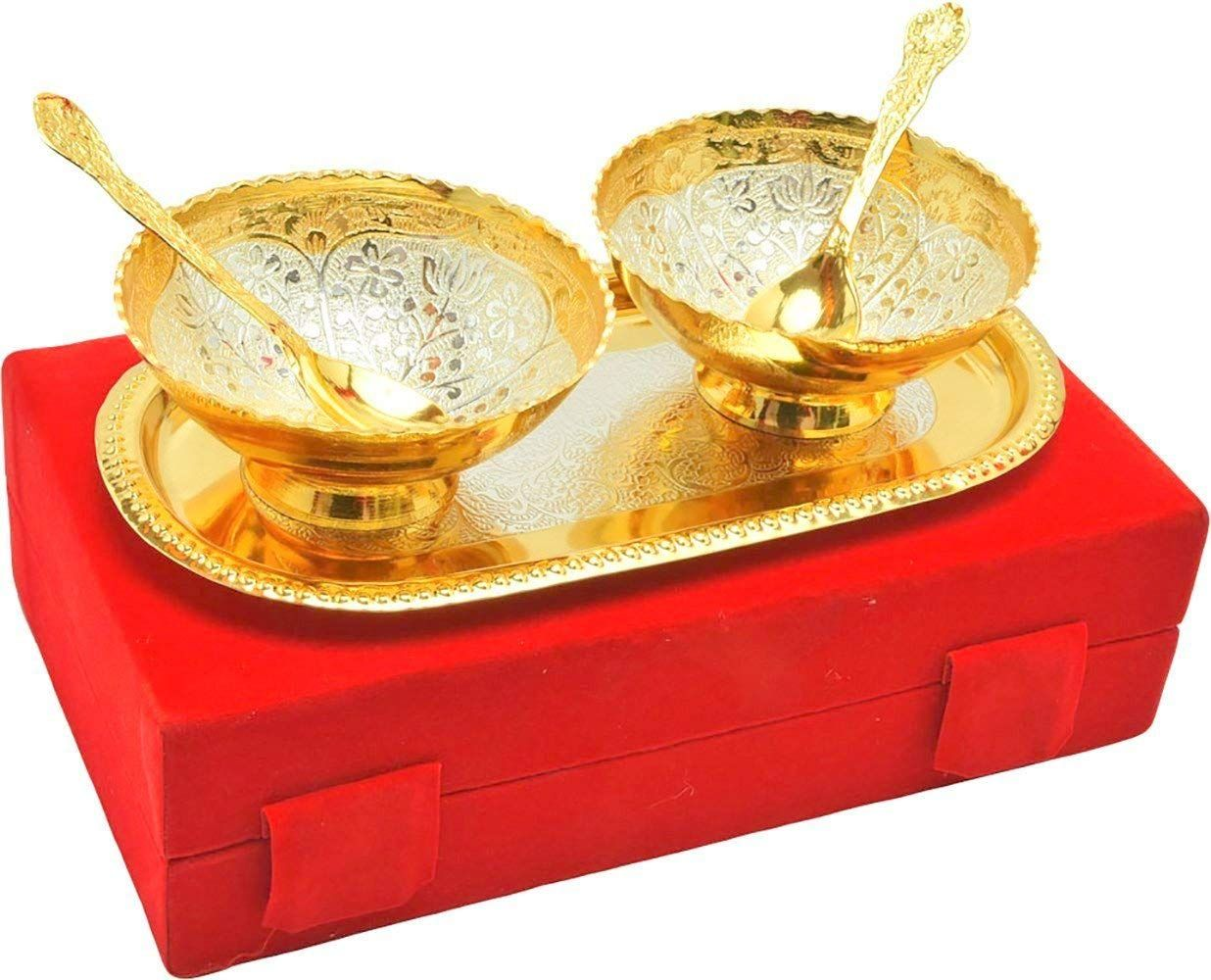 Indian Brass Bowl Set, Pack of 2, Golden
