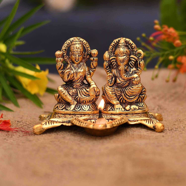 Laxmi Ganesh Idol Showpiece Oil Lamp Diya Deepak