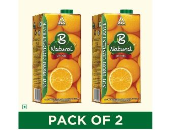 B Natural Orange Juice 1L, (Pack of 2) At Rs.147