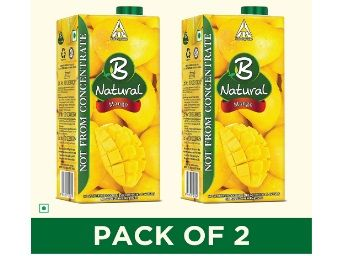 B Natural Mango Juice 1L, (Pack of 2) At Rs.140