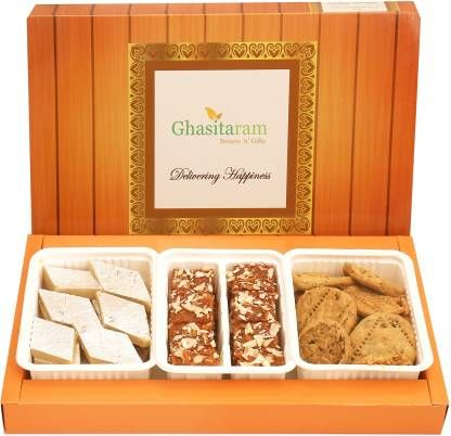 Ghasitaram Gifts Sweets Hamper-Assorted Box of Kaju Katli, Dodha Barfi and Methi Mathi Combo (3)