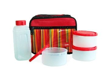 Flat 51% off on Cello Go 4 Eat Plastic Container Set, 4-Pieces, Red