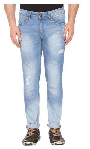 Life by Shoppers Stop Mens 5 Pocket Distressed Jeans Grey at Rs. 950