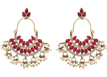 Flat 81% off on Zaveri Pearls Pearl Ruby Dangle & Drop Earrings For Women at Rs.329