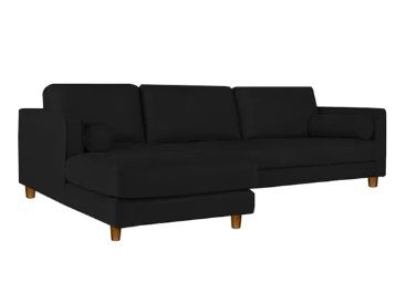 Lisbon RHS Sectional Sofa in Black Colour by Adorn Homez at Rs. 41269