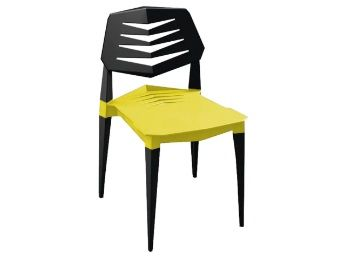 Vecto Modern Plastic Chair in Yellow & Black Colour By Workspace interio at Rs.4757