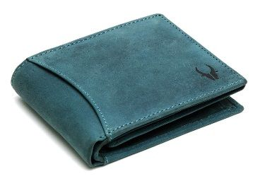 WildHorn® RFID Protected 100% Genuine High Quality Mens Leather Wallet (Blue Hunter) at Rs. 490