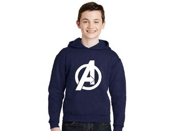 Flat 44% off on Avaatar Navy Blue Hooded Superhero Sweatshirt for Kids at Rs.