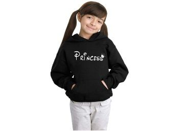 Flat 40% off on ADYK Cotton Princess Printed Hooded Sweatshirt for Girls Navy Blue & Black at Rs. 575