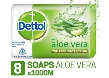 Flat 35% off on Dettol Soap - 100 g (Pack of 8, Aloe Vera) at Rs. 203