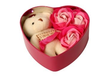 HOMOKART Heart Shape Gift Box with Teddy & Rose at Rs. 170