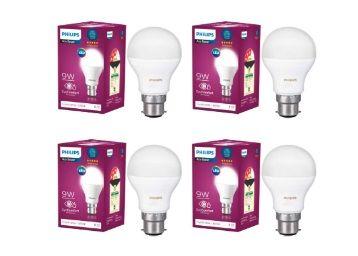 Philips Base B22 9-Watt LED Bulb (Pack of 4, White) at Rs. 376