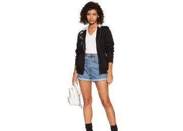 Apply Coupon - WOKNIT Printed Full Sleeves Womens Hooded Black Sweatshirt at Rs. 569