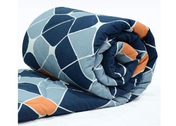 Divine Casa Imperial Geometric Microfibre Single Comforter - Navy Blue and Orange at Rs. 1049