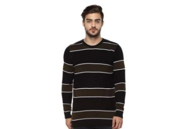 Flat 70% off on STOP by Shoppers Mens Round Neck Striped Sweater at Rs. 479