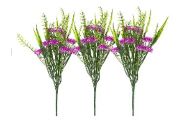 Flat 85% off on Fourwalls Artificial Synthetic PVC Green with Flower Bunch (28 cm Tall, Purple, Set of 3)
