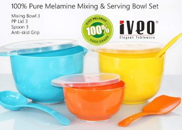 Flat 52% off on Iveo 9 Pcs Melamine Mixing Bowl Combo with LID and Mixing Spoon OYF at Rs. 743