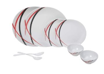 Iveo Radiance Belt Melamine Dinner Set, 8-Pieces, Multicolour at Rs. 589