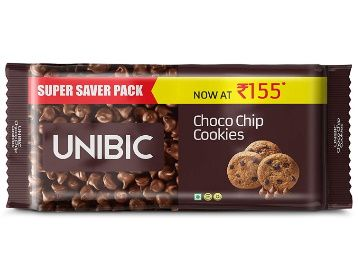 Flat 50% off - UNIBIC Choco Chip Cookies, 500 g (5 x 100g) at Rs. 82