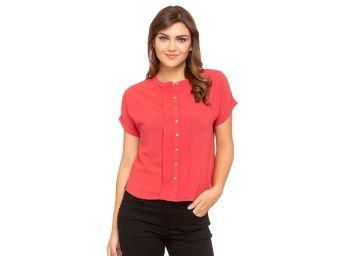 Flat 70% off on Femina Flaunt Womens Banded Neck Solid Shirt_Orange at Rs. 300