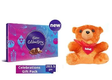 Cadbury - Valentine Gift Combo with Celebrations Assorted Chocolate Gift Pack, 203.5g & A Beautiful Teddy at rs. 349