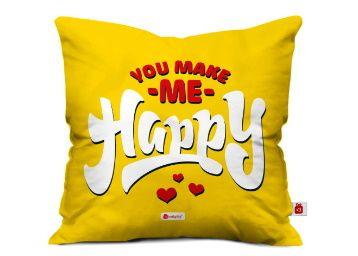 Indigifts indibni You Make Me Happy Printed Micro Satin Fibre Cushion Cover at Rs. 349