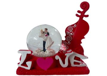 FABZONE Red Polyresin Valentine Romantic Love Couple Glass Doom with Lighting Effect Statue Gift at Rs. 399