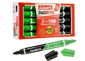 Luxor Duorite 2-in-1 Bullet Tip Whiteboard Marker - Black & Green - Pack of 10 at rs. 162
