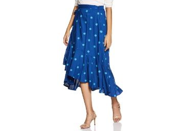 FLat 61% off on Amazon Brand - Eden & Ivy Rayon wrap Skirt at Rs. 694