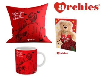 Archies Love Valentines Printed Cushion 12X12 Gift Set Rs.399