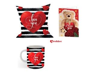 Archies Love Valentines Printed Cushion,Mug,Card At Rs.399