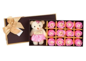 Scrafts Pink 12 Scented Bath Soap Rose Petals & Teddy Bear Gift Box Set at Rs. 299