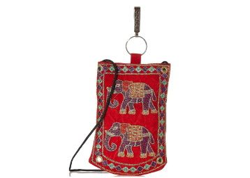 E-Tailor Mobile Holder With Key Chain Elephant Embroidered Mirror at Rs. 99