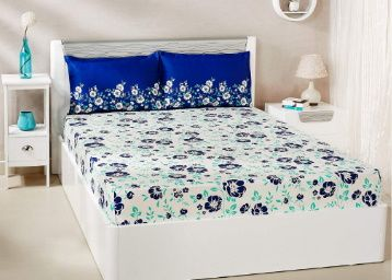 Amazon Brand - Solimo Jasmine Zest 144 TC 100% Cotton Double Bedsheet with 2 Pillow Covers at Rs. 649
