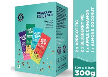 Yogabar Breakfast Protein Variety (Almond Coconut, Apricot & Fig, Blueberry, Apple Cinnamon Bars - 300gm at Rs. 241