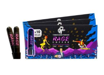Apply Coupon - Rage Coffee - Premium 100% Ethiopian Arabica Instant Coffee Crystals Infused with Natural Vitamins - 3.25 GMS   Award Winning Healthy Blend (10 Tube Shots) at Rs. 449