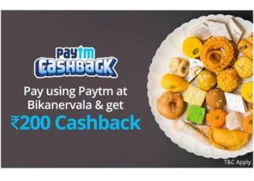 Bikanerwala - Rs.200 Cashback when you pay using Paytm
