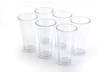 MR Products Premium Quality Poly Carbonate Stylish Transparent Glass Glass Set (Pack of 6) at Rs. 179